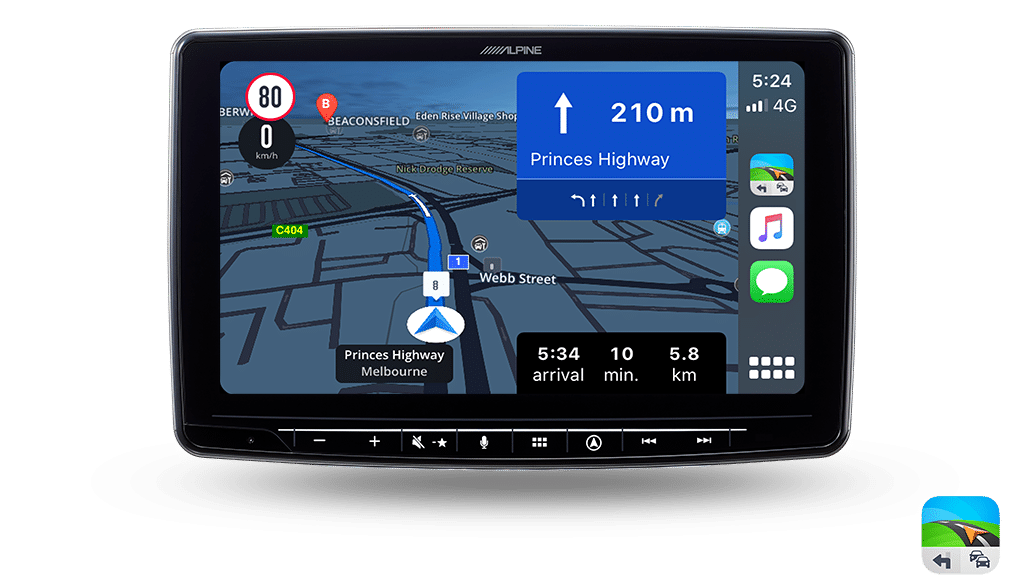 Check out the Sygic Navigation app for Apple CarPlay/Android Auto users
