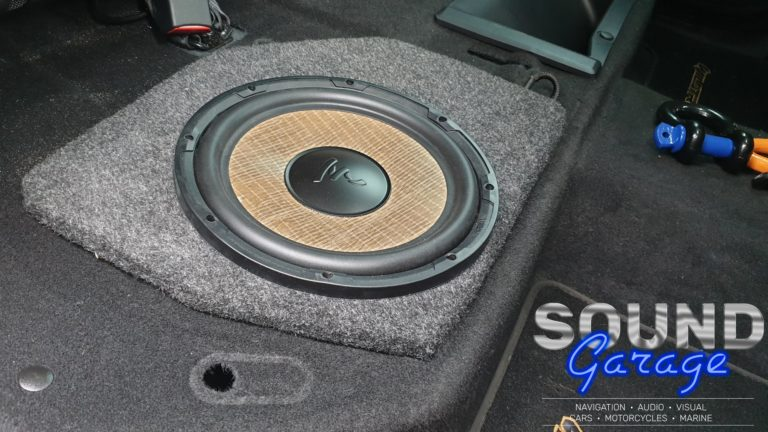 """2018 Ford Ranger - Focal P25FS 10"""" Sim subwoofer mounted under the rear seat"""